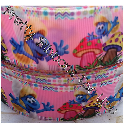 """Smurfs 1/"""" wide grosgrain ribbon the listing is for 5 yards total"""