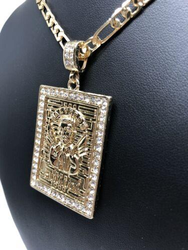 """Jesus Malverde Protección medalla Collier Pendentif Chaîne 26/"""" Cadena Oro LAMINADO"""