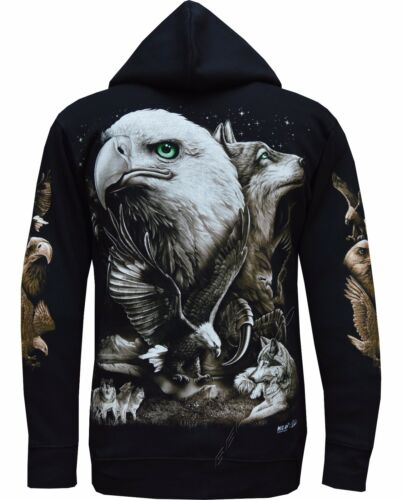 New Eagle Native American Indian Biker Zip Zipped Hoodie Hoody Jacket M XXL