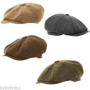 0ae0a9121b Details about Black Brown Herringbone Newsboy 8 Panel Baker Boy Tweed Flat  Cap Mens Gatsby Hat
