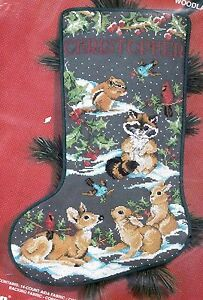 Janlynn Woodland Creatures Deer Raccoon Birds Cross Stitch Stocking Kit 125-06