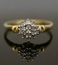 9Carat Yellow Gold Diamond (0.11 Carat) Claw Set Cluster Ring (Size M)