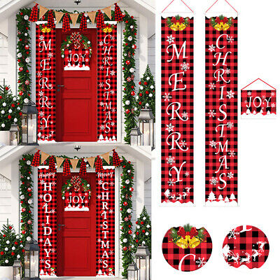 Merry Christmas Banner Flag Couplet Door Curtain Banner Christmas Supplies Home