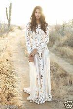 White Long Sleeve Lace Wedding Dress Bohemian Bridal Gown Sheer Open Back Custom