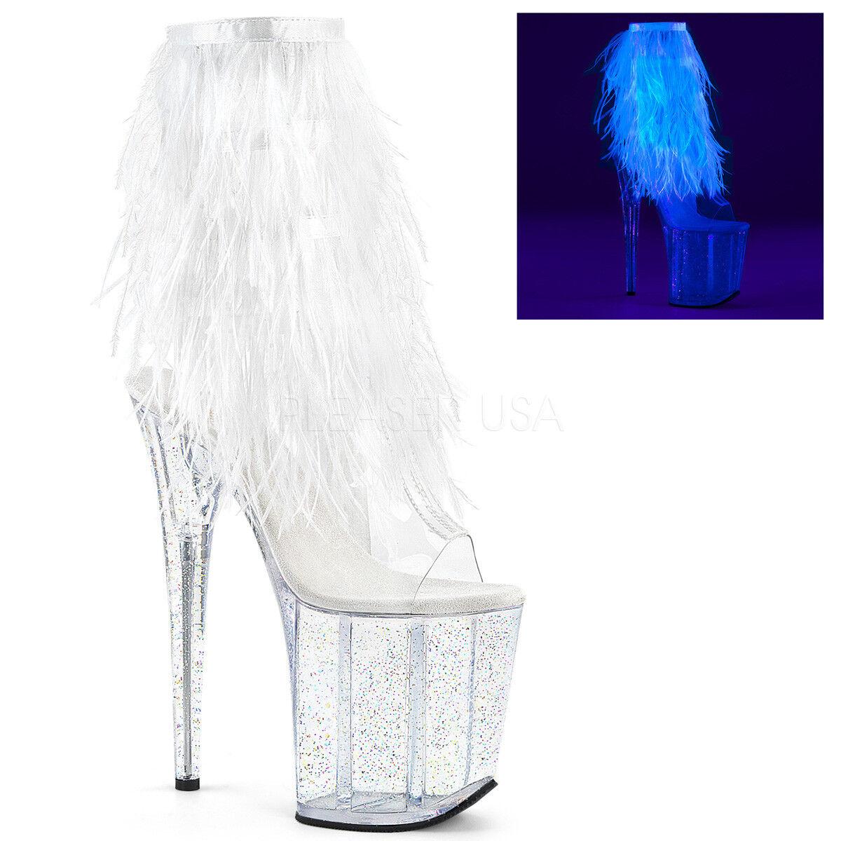 8  bianca Feathers Fringe Glow Glow Glow in the Dark Dancer Stripper Heels stivali Dimensione 10 11 68b7ac