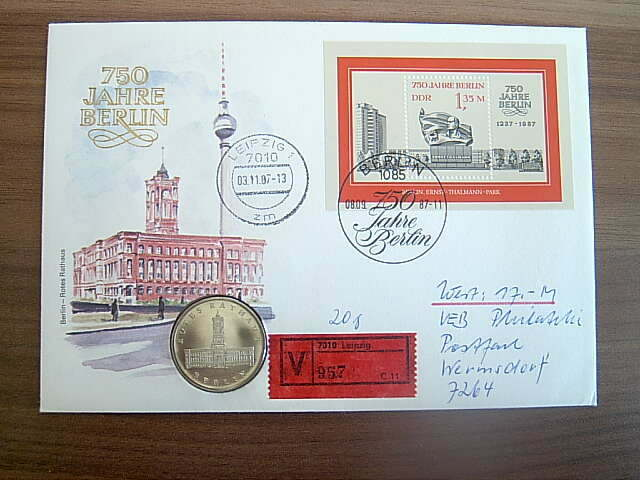 GDR Three Coin letters including 750 Years Berlin with DDR Special stamps and a block.