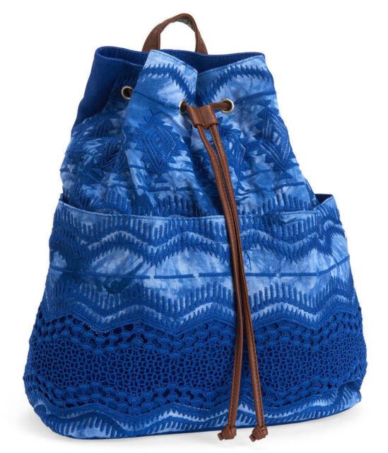 d1d08c948de0 New Aeropostale Blue Crochet Tie-Dye Cinch Full Size Pull-string Backpack