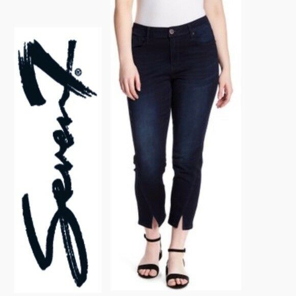 NWT SEVEN7 Denim Jarrell bluee Vented Split Hem Skin-Fit Stretch Skinny Jeans 24W