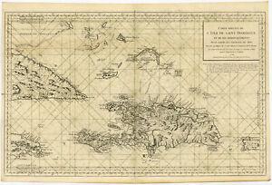 Rare-Antique-Print-SANTA-DOMINGO-HAITI-CUBA-CARRIBEAN-SEACHART-Bellin-1750