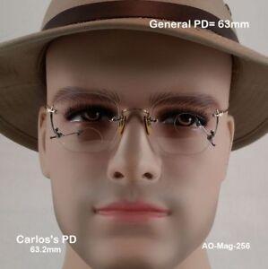 American-Optical-Frameless-034-RARE-034-True-Antique-Magnifying-Eyeglasses-amp-Cases