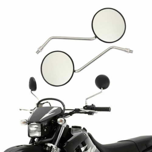 Pair round chrome mirrors M10 10mm standard for cafe racer minibike motorcycle