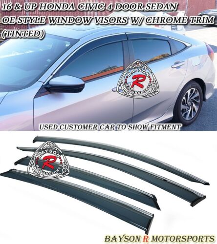 OE-Style Window Rain Guard Visors Chrome Trim Fits 16-18 Honda Civic 4dr Sedan
