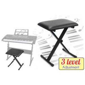 Portable Piano Stool Adjustable 3 Way Folding Keyboard Seat Bench Chair Black
