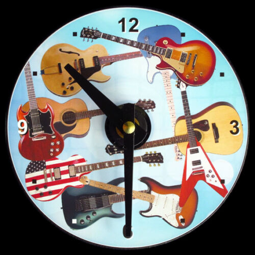 """Makes Nice Gift GUITAR Wall CLOCK Acoustic Player CD Size 4.75/"""" dia Electric"""