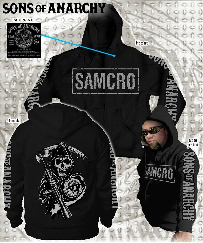 SONS OF ANARCHY PRINT SOA 4 PRINT ANARCHY BOXED SAMCRO LOGO GRIM REAPER BIKER HOODIE S-3XL 96880c