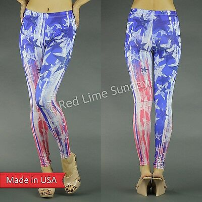 July 4th Women American Flag Stars Stripes Weathered Print Leggings Pants USA