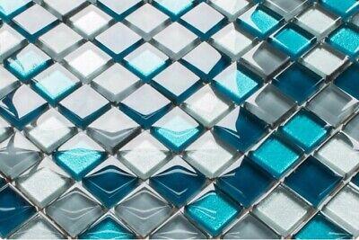Glasmosaik Fliesen HIMMELBLAU GRAU SILBER WEISS WC Küche BAD glänzend 8mm