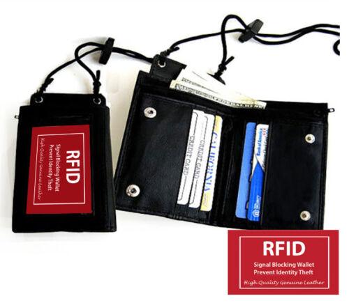 Leather ID Badge Holder Lanyard Neck Strap License Credit Card Bifold Wallet