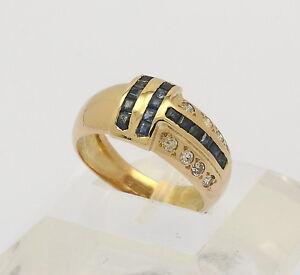 Ring-in-18-kt-750er-Gelb-Gold-mit-Brillanten-Saphiren-Brillant-Diamant-Saphir