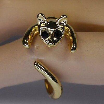 CAT Ring Katze Kätzchen Katzenring Offener Fingerring Gothic Strass Blogger NEU