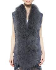 Haute Hippie vest Dyed Mongolian lamb real fur collar S $900