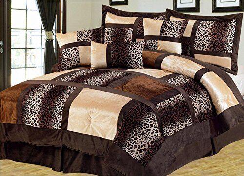 Twin Size Safari 7-Piece Suede Comforter Set Brown