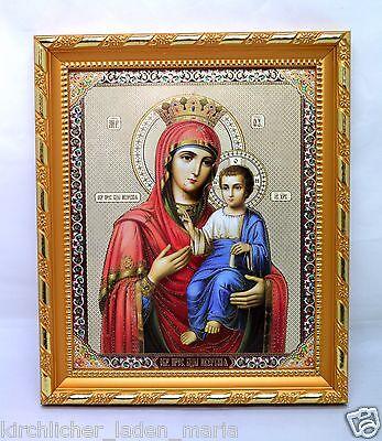 Ikone Gottesmutter Iverskaja geweiht Holz икона Богородица Иверская 12x10x2