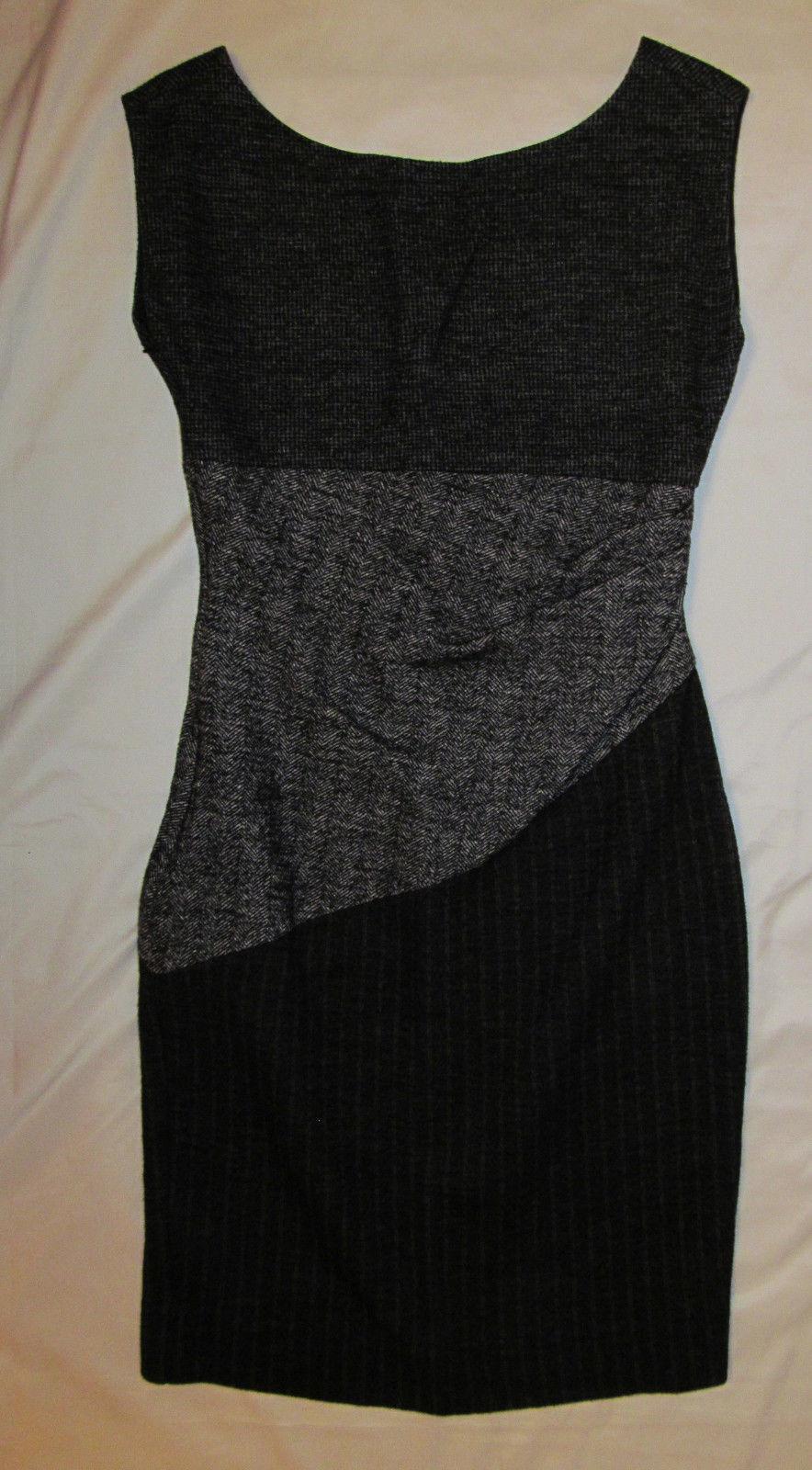 DVF DIANE VON FURSTENBERG wool JORI Farbeblock knit sheath herrinbone dress 8