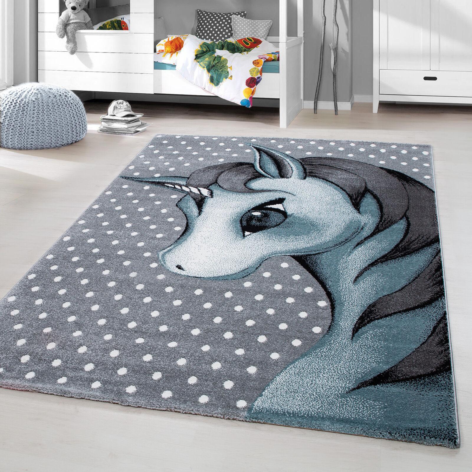 Alfombra Infantil Pelo Corto Unicornio Bebé Dormitorio Habitación de de de gris Azul 065236