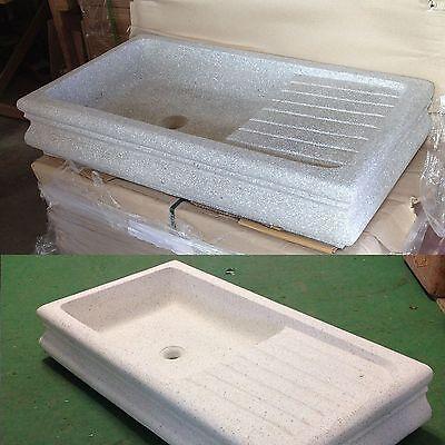 Lavelli In Graniglia Per Cucina.Lavabo In Graniglia Di Marmo E Cemento Lavello Lavandino Cucina Acquaio Cm 105 Ebay