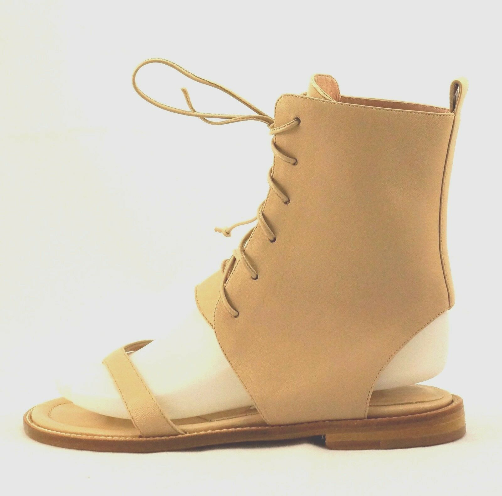 Manolo Blahnik Vestalpa Lace-up Nude Leather Thong Thong Thong Sandal Ankle Boots 36 New b5f1c0