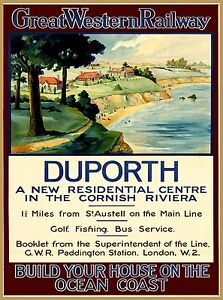 Duporth Great Western Railway England Vintage Travel Advertisement Art Poster
