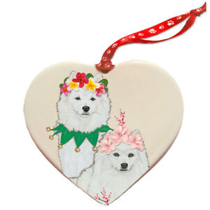American Eskimo Dog Porcelain Floral Heart Shaped Ornament Décor Pet Gift Ebay