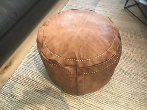 Stunning-Moroccan-Leather-Ottoman-Pouffe-Pouf-Footstool-Coffee-Table-in-Tan