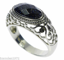 Filigree Set Blue Sand Stone Mens Stainless Steel Ring Size 13