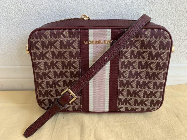 Michael Kors Jet Set Item EW Jacquard Leather Crossbody Bag Beige Oxblood