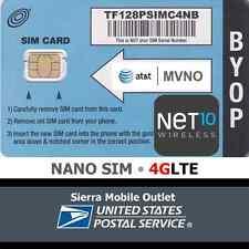 NET10 WIRELESS NANO 4FF SIM Card • GSM 4GLTE • NEW • AT&T Network MVNO