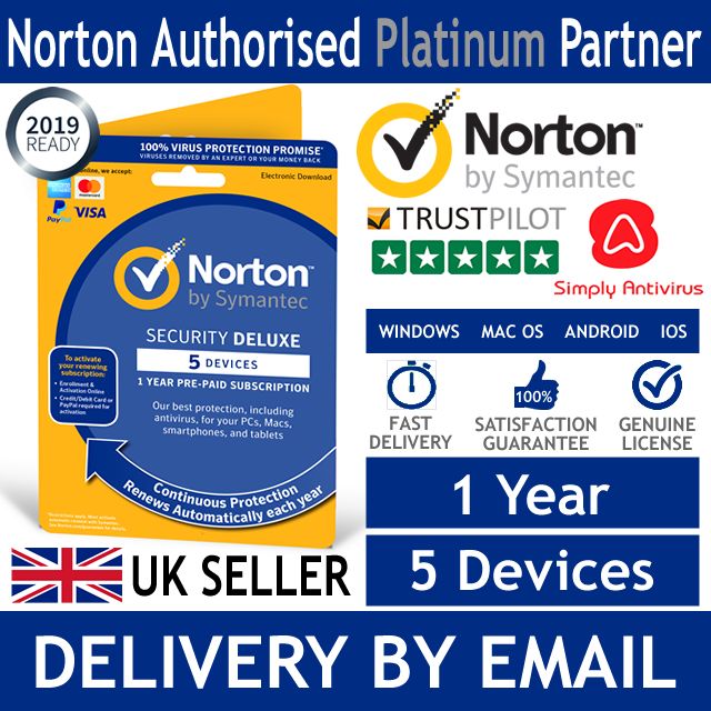 Norton Internet Security DELUXE 2019 5 Devices 1 Year - *5 Min Delivery by Email