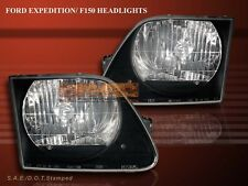 1997-2002 Ford Expedition / 1997-2003 F150 Headlights Black