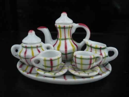 10 Pcs Hand Painted Scott Line Tea Set Dollhouse Miniatures Ceramic Kitchenware