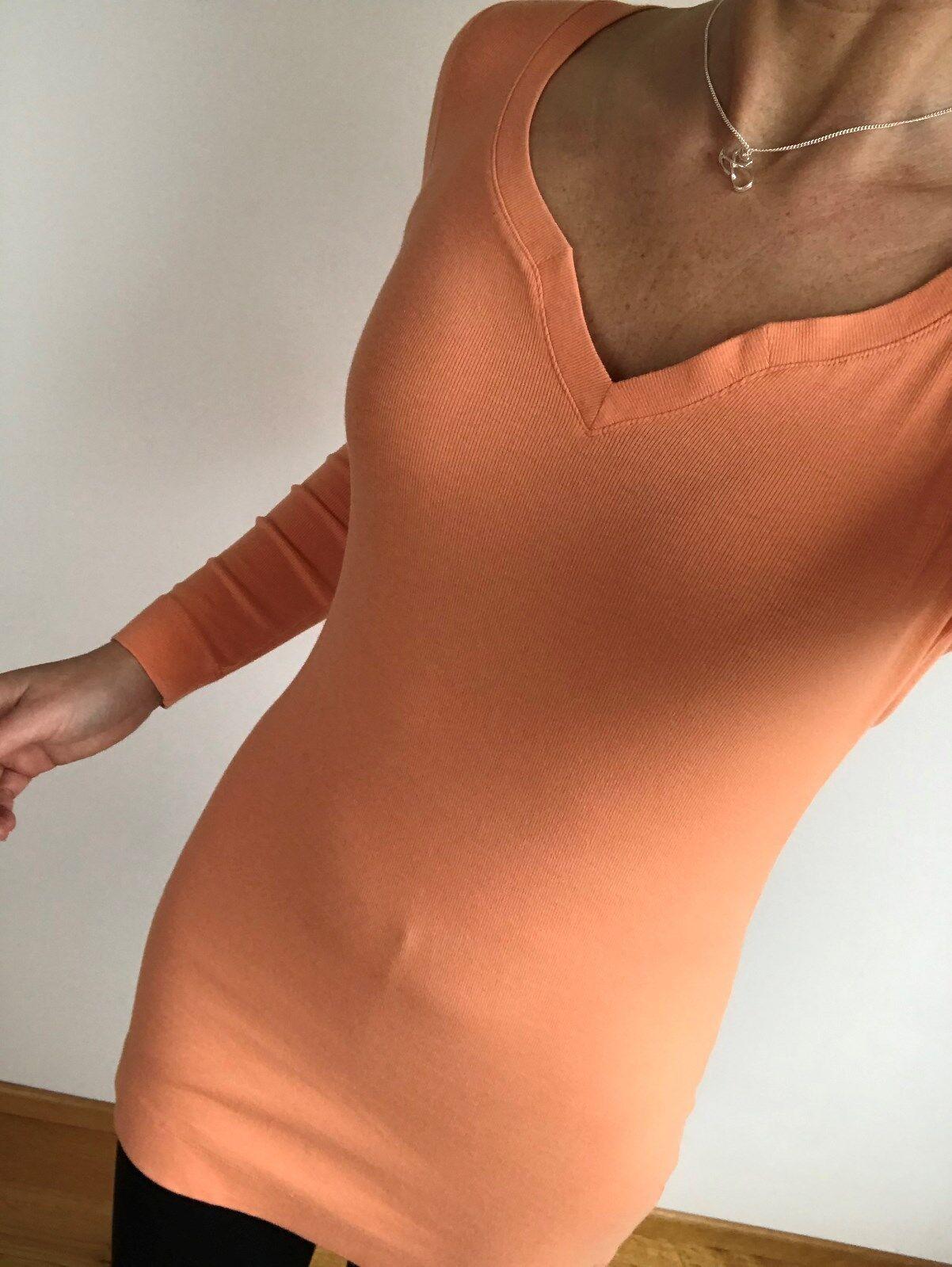 MARC CAIN Long Shirt Tunika Feinripp Top lachs apricot Orange N1 34 XS N2 36 S