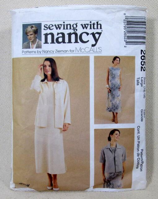 Pattern 2652- Sewing with Nancy Zieman - Size 16-18 - Dress, Jacket