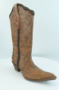 Womens-Corral-Western-Leather-Tube-Boots-C1059-Size-8M-Orange-Engraved-Lace-13-034