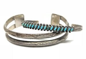 ZUNI-Sterling-Silver-Turquoise-NEEDLEPOINT-2-Piece-Carinated-Cuff-Bracelet-Old