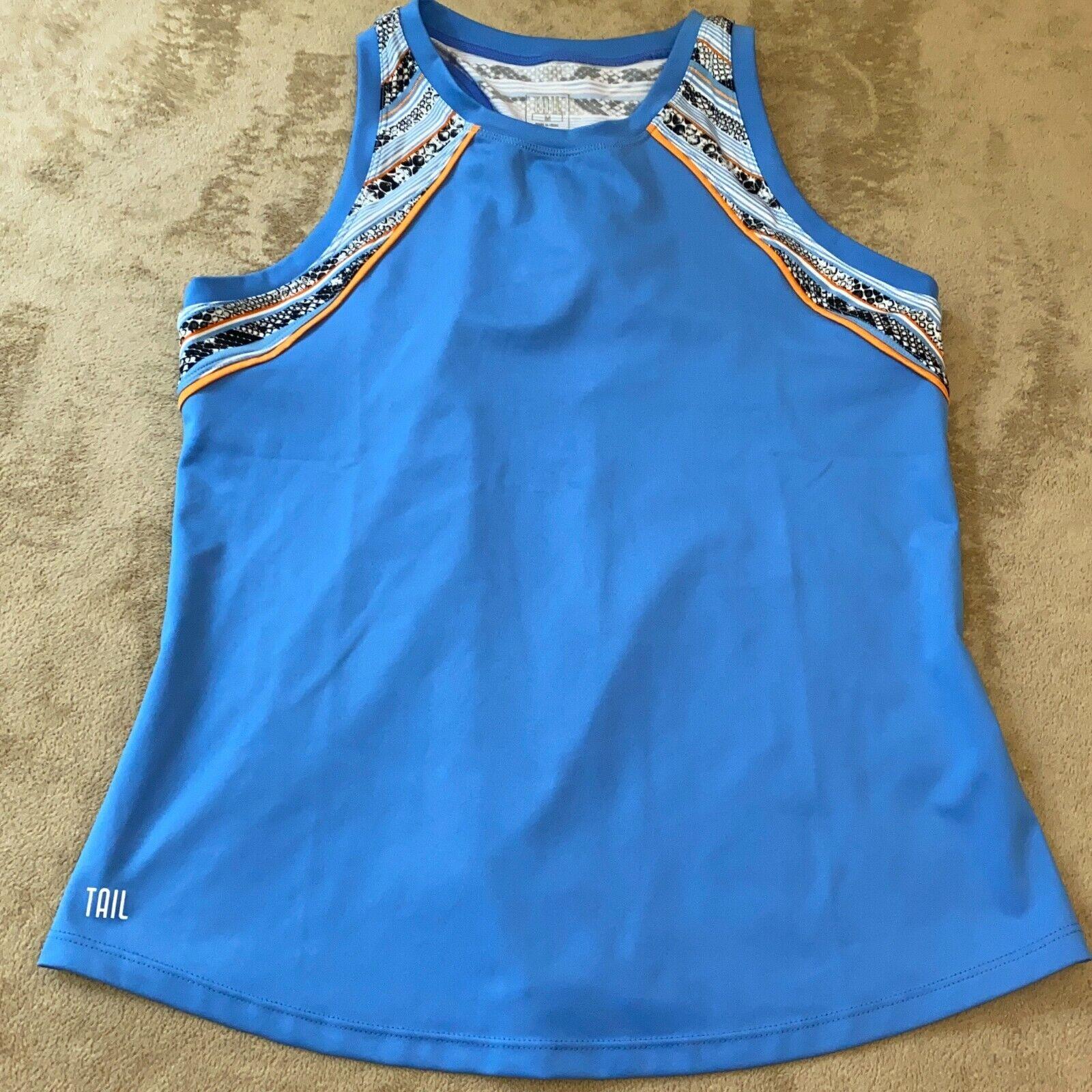 Tail Womens Blue Crew Neck Sleeveless Racerback Athletic Top Size Medium