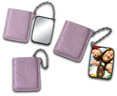 Personalised Custom Photo Novelty Gift Metal Leather Case Pocket Compact Mirror