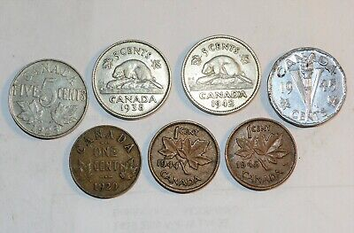 1923 - 1945 CANADA coins five penny one cents VINTAGE LOT GREAT  COLLECTIBLES | eBay