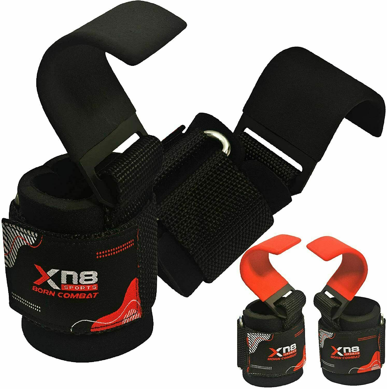 XN8 Gym Weight Lifting Hooks Straps Hand Bar Wrist Brace Support Gloves Training