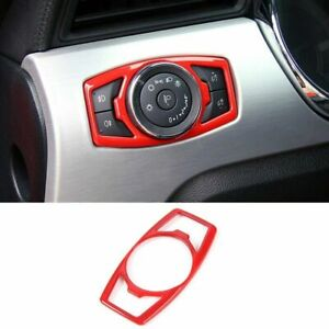 Red Real Carbon Fiber Headlight Switch Button Frame Trim For Ford Mustang 15-19