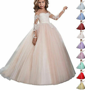 Girls' Formal Occasion Kids' Clothing, Shoes & Accs Wedding Party Flower Dress Girl Holy Communion Party Princess Prom Pageant Dress